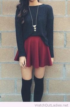 Burgundy skirt and a black blouse for fall