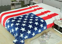 American Flag Printed Blankets Throw Bedding 150*200CM Size Baby Kid Boy Children's Bed Home Bedroom Decoration Flannel Blue Red #Affiliate