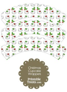 Hello Kitty Christmas Holly Scalloped Cupcake Wrappers from PrintableTreats.com