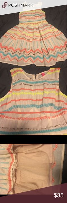 Tracy Reese Colorful Dress Excellent condition! Such fun colors for summer. Lined with a cute petticoat. Beige with neon design. Zipper up the back. Great deal for this dress that's barely new. Same dress selling with tags on posh for a $100 more!!! Anthropologie Dresses