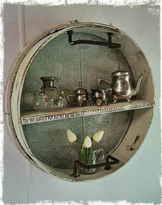 This gorgeous little shelf is made by Vintage Lidy ( our Face book page ) out of an old vintage sieve ... <3