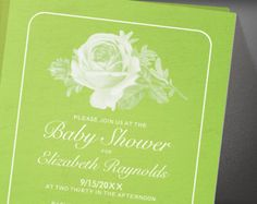 Green Rustic Floral Flower Baby Shower Invitation