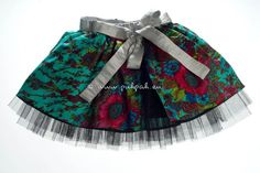 Girls designer party skirt (5 to 8 years) - unique item.