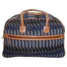 Handmade cotton weekender bag with a colorblock ikat motif and leather  trim. Made by artisans be6a32791920e