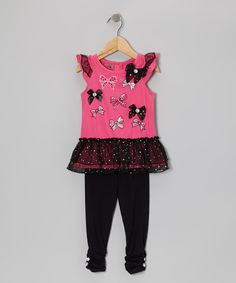 Love this Young Hearts Pink Bow Ruffle Top & Black Leggings - Toddler by Young Hearts on #zulily! #zulilyfinds