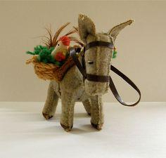 Christmas Donkey Toy Ornament  Vintage Felt by Cumulations on Etsy