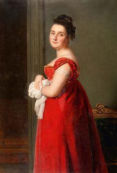 Ecole FRANCAISE du début du XIXème siècle  Portrait de femme à la robe rouge Toile 135,5 x 91 cm