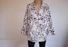 JM COLLECTION Shirt Blouse Plus 20W Brown White Embroidered Button Front Womens #JMCollection #ButtonDownShirt #Casual
