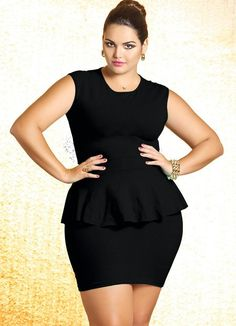 Vestido Plus Size Peplum Preto - Quintess .now go forth and share that BOW DIAMOND style ppl! Plus Size Looks, Curvy Plus Size, Plus Size Girls, Plus Size Women, Plus Size Peplum, Plus Size Dresses, Plus Size Outfits, Plus Size Fashion For Women, Plus Fashion