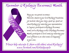 November is Epilepsy Awareness Month...because it matters. Here is our fact of the day for November 7th. Everyday there will be a new fact. Please ✓Like ✓Comment ✓Share to help spread Epilepsy Awareness .#epilepsy #epilepsyawareness