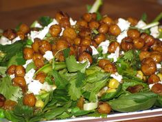 Spinach salad with oven fried garbanzo beans - drop the cheese