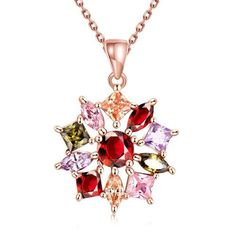 Rose Gold Rainbow Snowflake Necklace