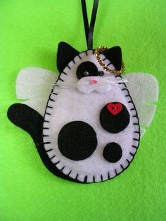 Black and White Cat Angel Ornament Felt by MSMURIEL on Etsy