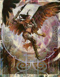 Serra Avenger art for MAGIC THE GATHERING (the time spiral set)