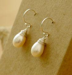 Pearl drop earrings silver, pearl earrings sterling silver, June birthstone jewelry, wire wrapped earrings - Sophie