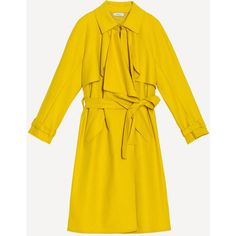 Max&Co. Lightweight deconstructed trench coat ($205) ❤ liked on Polyvore featuring outerwear, coats, ruffle coat, yellow coat, metal coat, yellow trench coat and ruffle trench coats