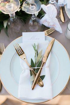 Gold flatware: http://www.stylemepretty.com/little-black-book-blog/2016/01/19/rustic-elegant-crete-destination-wedding/ | Photography: Anna Roussos - http://annaroussos.com/