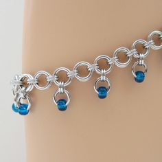 Chainmail anklet with blue beads ankle chain by TattooedAndChained