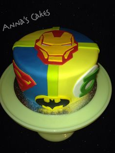 Superhero cake hand made by me ironman superman batman for Superman template for cake