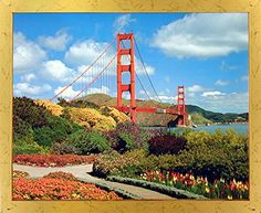Feel the beauty of nature by bringing home this amazing San Francisco Golden Gate Bridge landscape framed art print poster. This framed poster depicts the image of a wonderful scenic beauty of San Francisco Golden Gate Bridge which surely grabs lot of attention and makes this framed art a centre of attraction. The sleek golden wooden frame of this poster will look wonderful and make a graceful addition to any area in your beautiful home.