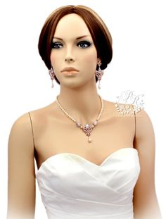 Wedding Necklace Earrings set Swarovski Pearl Rose Gold plated