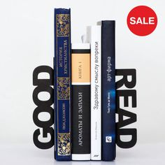 30% OFF SALE Bookends - Good read - for home or public library, black, laser cut from metal thick enough to hold a bunch of books on Etsy, $33.00