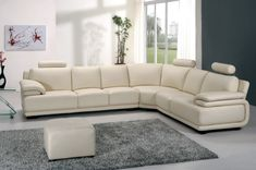 Modern Adjustable Armrests Headrests White Leather Sectional Sofa with Ottoman – Sofa Design 2020 Sofa Set Designs, Sofa Design, White Sectional Sofa, Leather Sectional Sofas, Sofa Bed, Couches, White Leather Sofas, Best Leather Sofa, Leather Ottoman