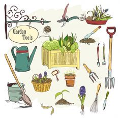 Buy Set of Gardening Tools by macrovector on GraphicRiver. Hand drawn sef of gardening tools for plants flowers farming and agriculture vector illustration. Editable EPS and Re. Garden Projects, Garden Tools, Garden Tool Storage, Storage Sheds, Garden Illustration, Succulent Gardening, Fairy Gardening, Garden Journal, Organic Gardening Tips
