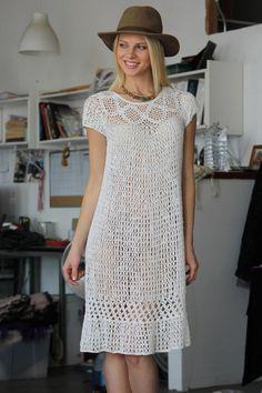 "diy_crafts-Vtg White Boho Hippie Crochet Lace Dress by VINTAZIAVintage ""Tina's handicraft : classic dress for all occasions"", ""D g black l Crochet Lace Dress, Knit Dress, Knit Crochet, The Dress, Dress Skirt, Hipster Chic, Hippie Crochet, Crochet Fashion, Crochet Clothes"