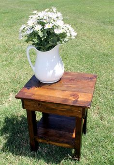 Custom Handmade Farmhouse Barnwood End Table by TheTrunkTrader