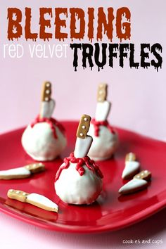Super easy! Just crushed red velvet cake mixed with frosting dipped in white chocolate. Make a cookie knife and add red frosting. Thinking of adding a cherry inside.