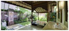 Blissful indulgence.  Indoor ourdoor bathroom at Surya Damai Villa, Bali, Indonesia.