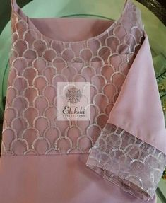 Pink kameez with embroidy neck and sleeve details Salwar Neck Designs, Neck Designs For Suits, Churidar Designs, Kurta Neck Design, Sleeves Designs For Dresses, Dress Neck Designs, Kurta Designs Women, Sleeve Designs, Hand Embroidery Dress