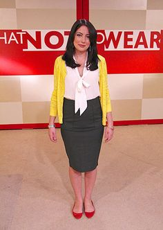 Katherine L's WNTW makeover - love this outfit! TLC.com has all the sources: Olive Green Pencil Skirt from Zara, Yellow Cardigan from H, ...