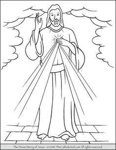 Jesus, The Divine Mercy coloring page.
