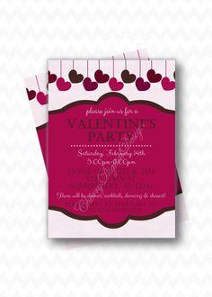 Valentine's Day Party Pink Purple Digital by CherryDigitalDesign