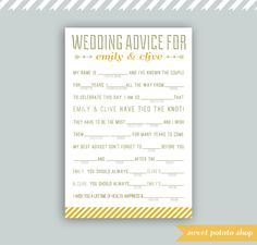 Wedding Mad Libs: Wedding Advice PDF Digital DIY Printable Download. $15.00, via Etsy.