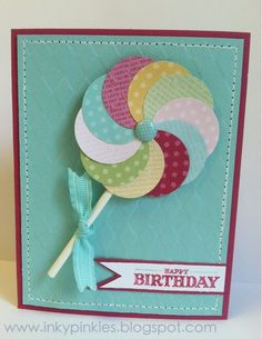 Sweet Sunday - Lollipop Cards! make these into invites for a circus party!