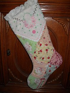 Christmas Stocking Shabby Rose Cottage Chic Patchwork Vintage Linen. $15.00, via Etsy.