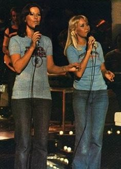Frida and Agnetha in jeans and shirts rehearsing for the ABBA D'abba Dooo tv special in the summer of 1976.