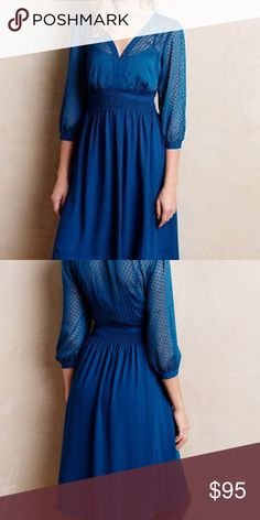 """HD in Paris Celeste Dress Nwot. Size: 2 By HD in Paris Cotton, rayon; polyester lining Fit-and-flare silhouette Side zip Machine wash Imported Regular falls 37.5"""" from shoulder Petite falls 34.75"""" from shoulder Model is 5'9"""" Anthropologie Dresses"""