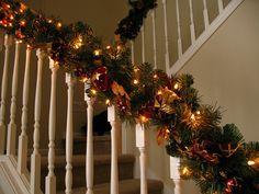 Enfeites de Natal, corrimão de escada, natal, decoração, escada