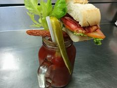 BLT Caesars on the patio at Louie's Pizza and Pasta.