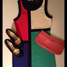 Forever 21 Color Block Dress Polyester/rayon...handwash/line dry...color block with solid back and back zip...work to cocktails! Forever 21 Dresses