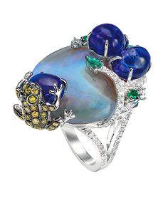 Cellini Jewelers - ethiopian opal, cabochon tsavorites, diamonds, emeralds, playful brown diamond frog