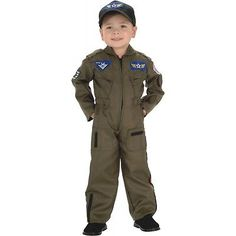 Air Force Fighter Pilot Costume Kids Flight Suit Halloween Fancy Dress