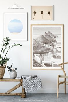 Coastal gallery wall with blue and neutral art Beach Cottage Style, Beach Cottage Decor, Coastal Cottage, Coastal Style, Coastal Living, Cottage Chic, Beach Chic Decor, Lake Cottage, Modern Coastal
