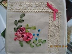 ru / Photo # 7 - My first embroidery - Silk Ribbon Embroidery, Embroidery Art, Ribbon Art, Drawstring Pouch, Rug Hooking, Pink Flowers, Needlework, Elsa, Quilting