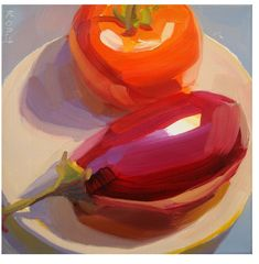 #KarenONeil | Eggplant and Tomato. #painting #stilllife