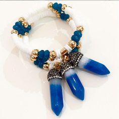 Bracelets By Vila Veloni Blue Quartz And White Stone Trendy